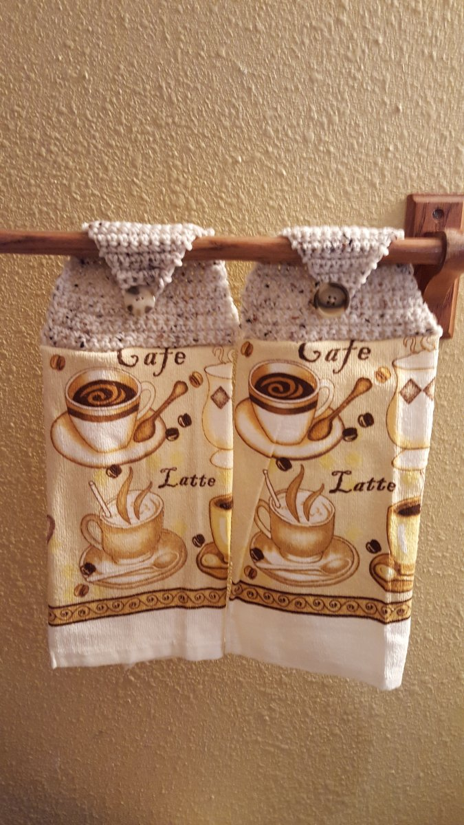 Etsy Items / Hanging Crochet Button Top Dish Towels / Hanging Tea Towels with crochet top