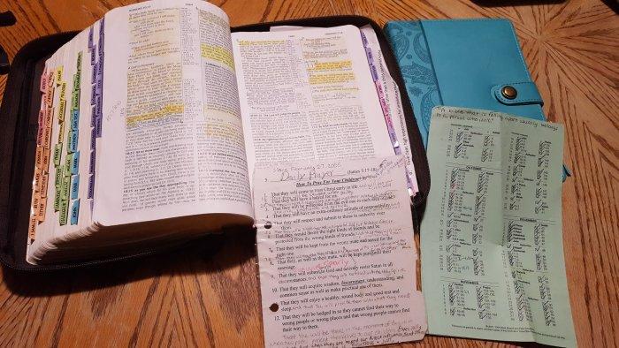 Open Bible Study Notes Prayer Journal Prayer List