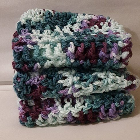 For Sale on Etsy / Reusable Crochet Cotton Washcloths / Crochet Worsted Weight Cotton Dishcloths