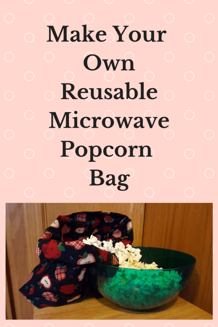 reusable microwave popcorn bag with poccorn spilling into bowl apple decoration