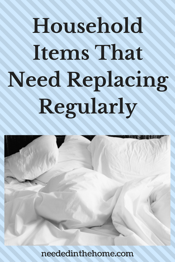 white pillows and sheets on an untidy bed Household Items That Need Replacing Regularly neededinthehome.com