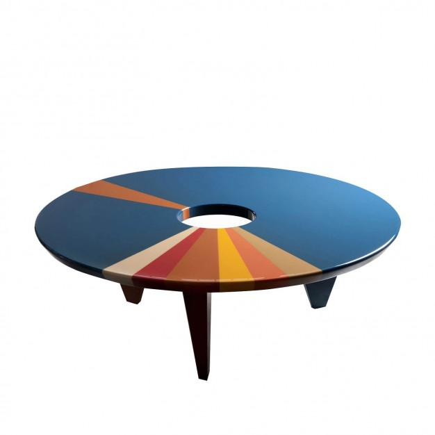 A Coffee Table From Above By Artist And Designer Hagit Pincovici Blue  Orange Tan Circle Shape