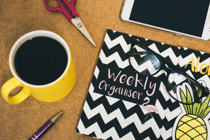coffee scissors weekly organiser organizer pen smartphone How To Smarten Up Your Home Life With Systems