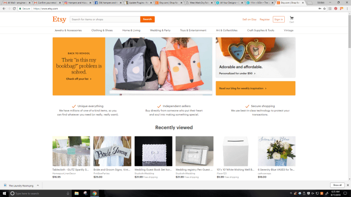 How to start an etsy shop - screenshot main etsy page click register top right corner to start your shop setup