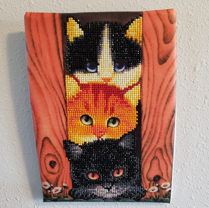 Diamond painting tutorial completed cats design