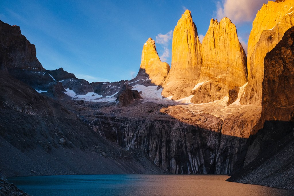 Sunrise at Torres del Paine.