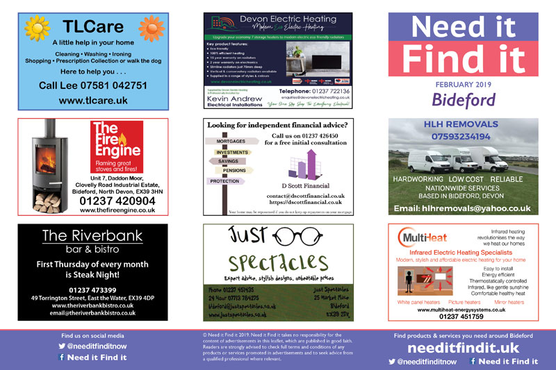 Need it Find it | Bideford advertising leaflet February 2019