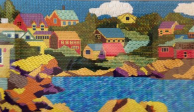 Mary H - a picturesque coastal scene in which lots of different stitches were used