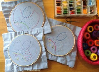 A modern 'sampler' cushion teaching lots of embroidery stitches
