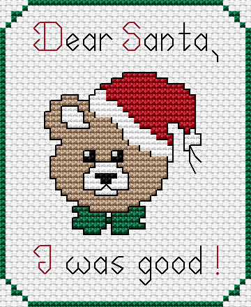 dear santa i was good this is a fact its kinda adorable too this free christmas cross stitch pattern would be perfect for a gift card or hangup - Free Christmas Cross Stitch Patterns