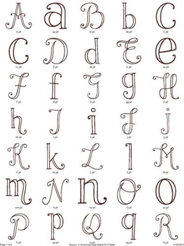 Alphabet patterns for hand embroidery needle work