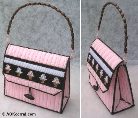 Plastic canvas purse pattern needle work for Plastic canvas crafts for kids