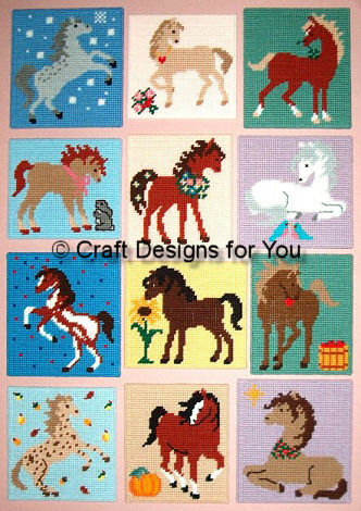 Horses of the month patterns needle work for Craft of the month