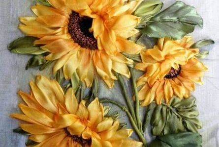 Ribbon Embroidery Inspiration  – Sunflowers