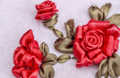 Silk Ribbon Roses Tutorial