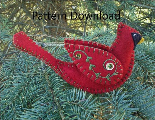 Felt Bird Pattern Cardinal Ornament Pattern Download Needle Work