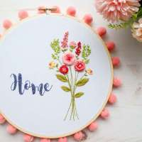 Flower Bouquet Home - Free Hand Embroidery Pattern