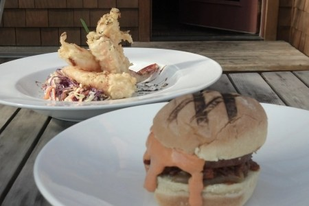 Burger and shrimp