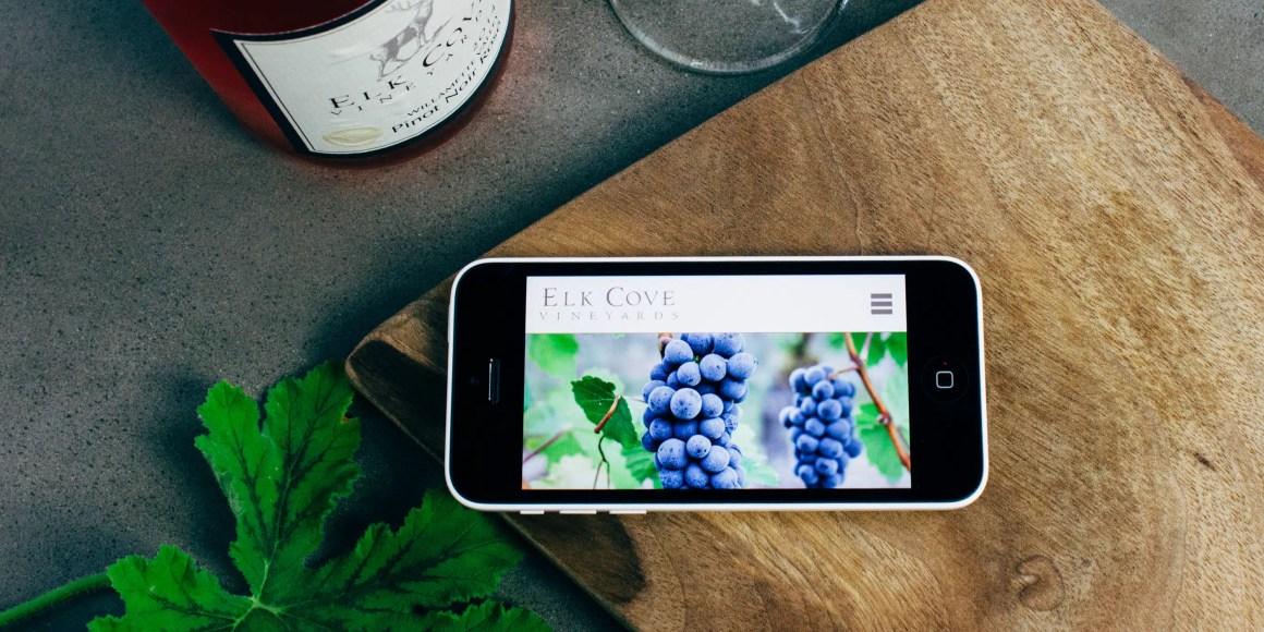 Elk Cove website on iPhone