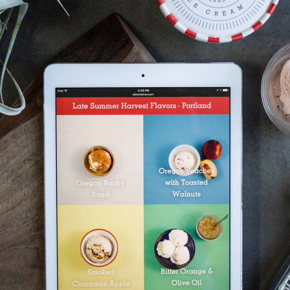Salt & Straw flavors on iPad
