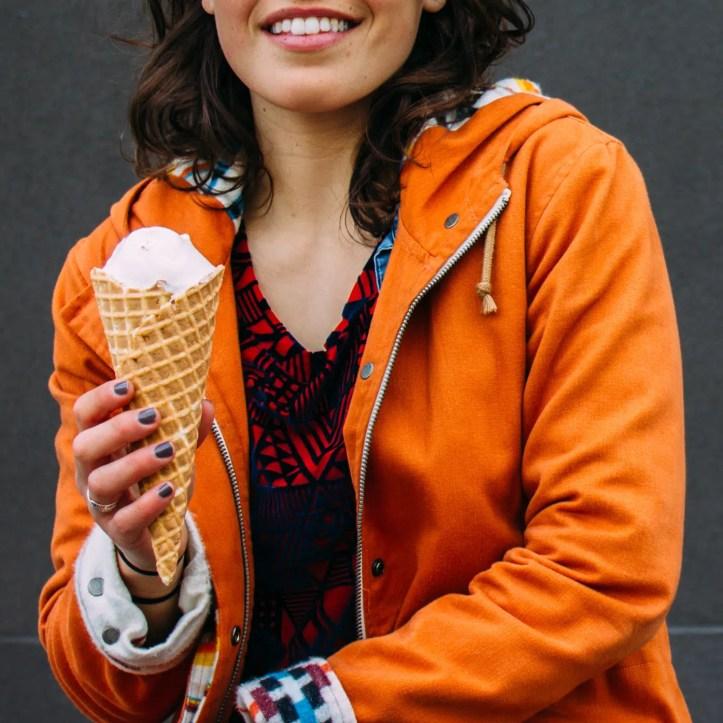 Enjoying a Salt & Straw cone