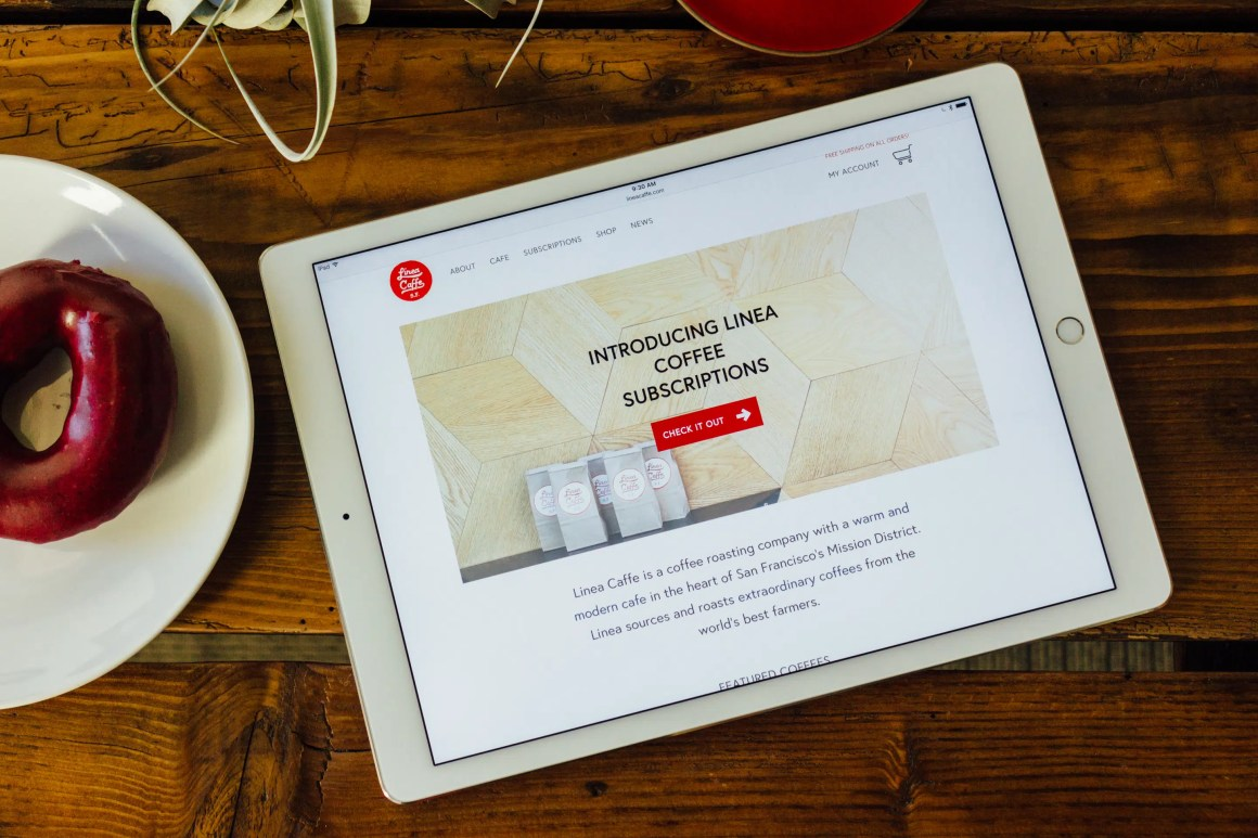 Linea website home iPad