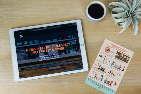 Website and illustrative flyer for the Convince Your Boss office coffee campaign