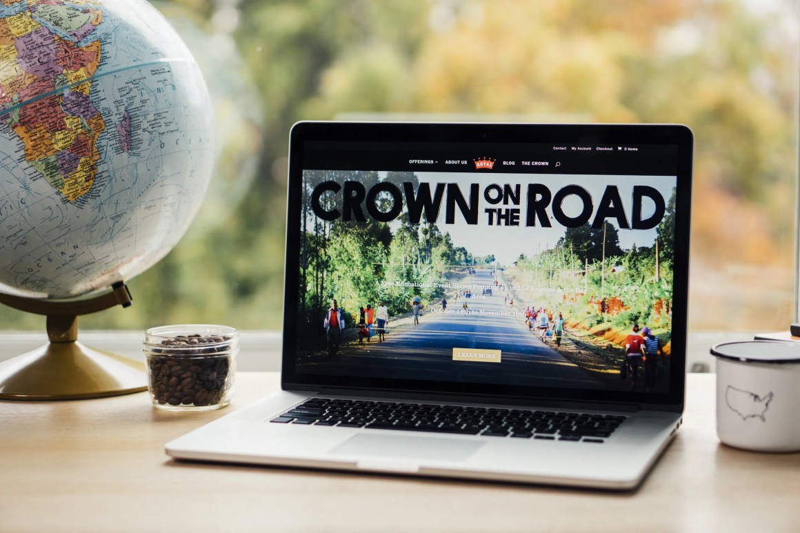 Redesigned Royal Coffee website on laptop
