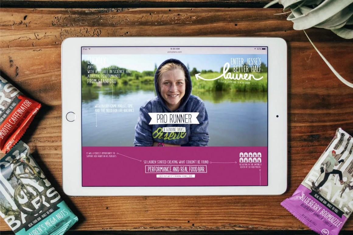 Picky Bars website shown on an iPad.