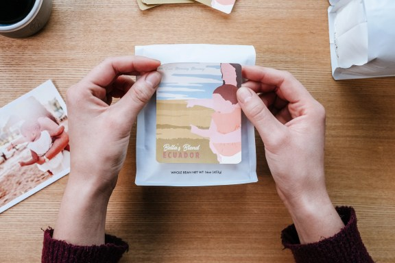 Putting the label on Bella's Blend, a custom label design to benefit Children's Cancer Association