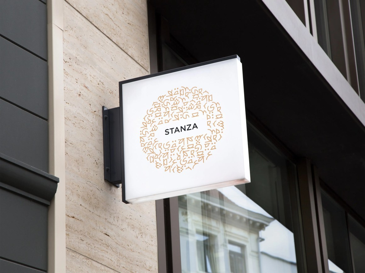 Mockup of Stanza Coffee logo on sign