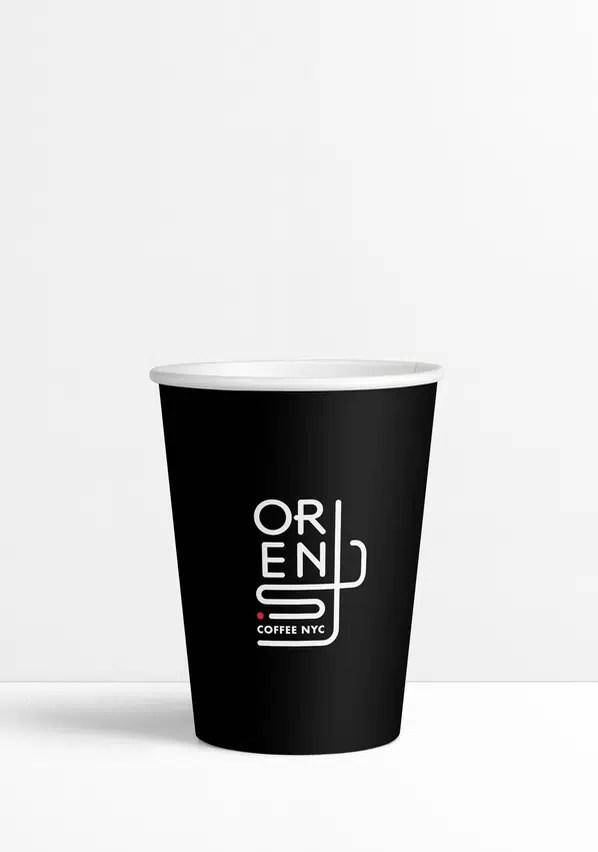 Orens black 12 oz paper cup