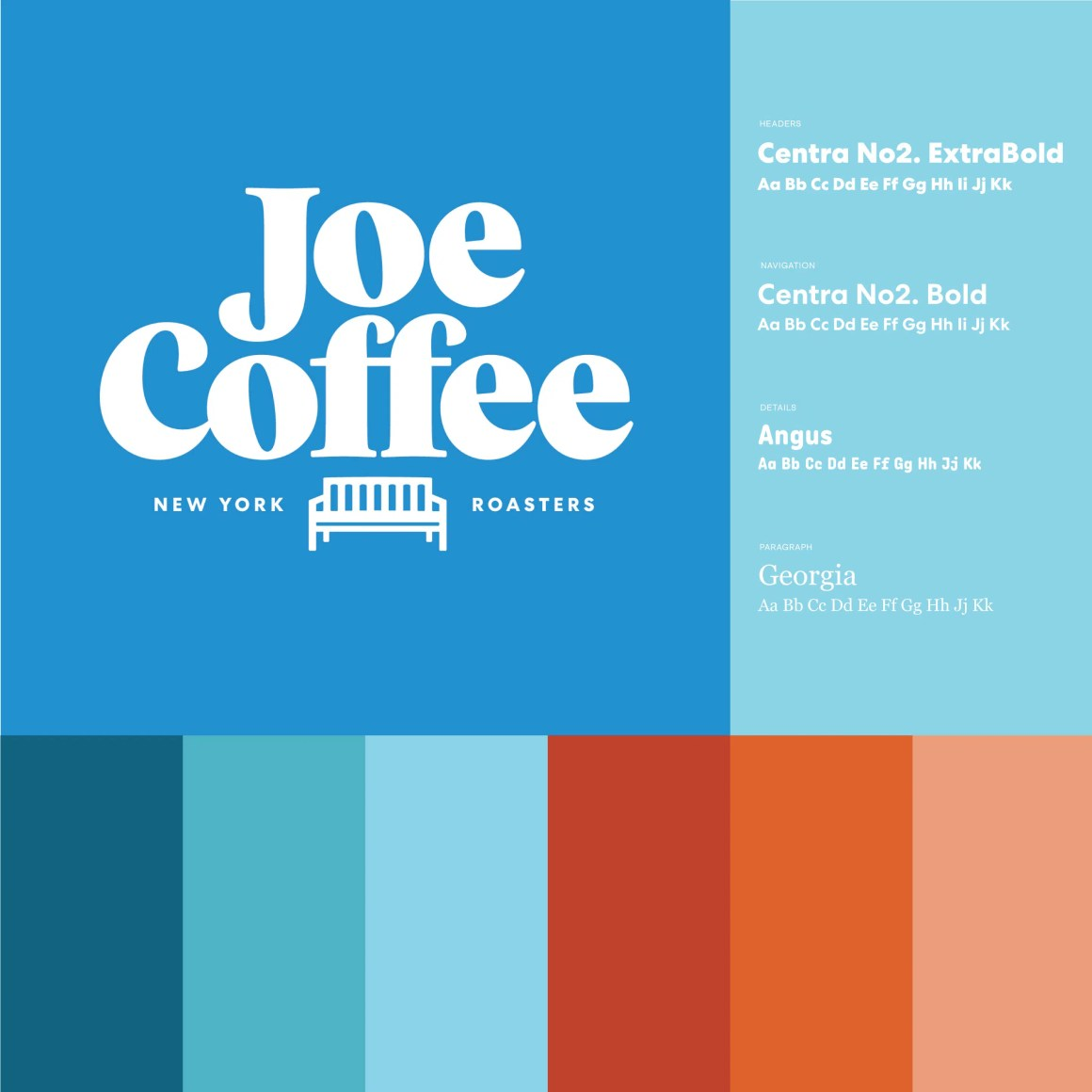 New Joe Coffee logo with color palette and typography