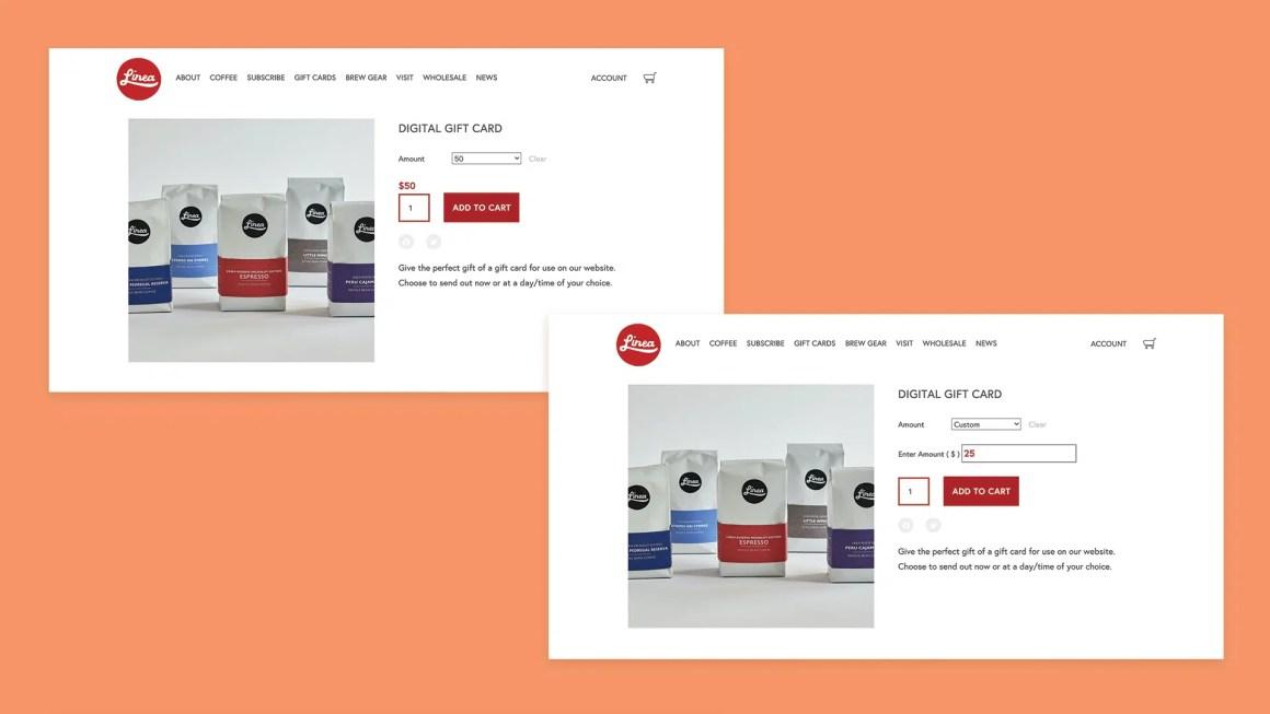 Linea Caffe Gift card and custom gift card