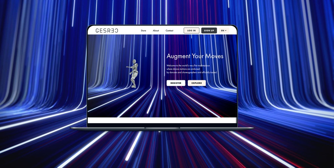 Home page of GESREC website on a MacBook Pro, with blue and white motion lines behind.