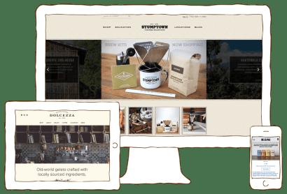 Stumptown, Dolcezza, and De La Paz coffee websites