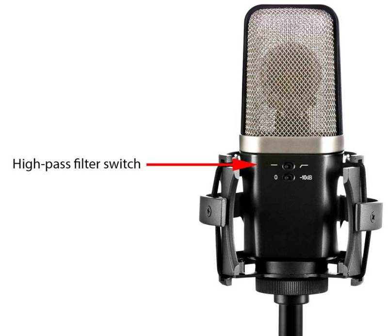 Microphone showing hi-pass filter switch