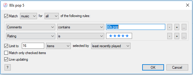 0s pop 5 smart playlist settings