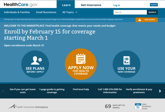 photo of website home page for healthcare.gov