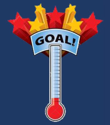 thermometer with fundraising goal and stars at top