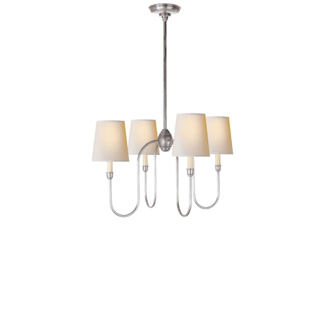 Antique Silver May Patina Finish Natural Paper Shade Chevron Left Right Vendome Small Chandelier