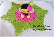 Bumble bee lovey pattern available on Ravelry