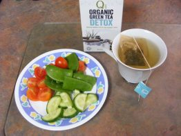 Cherry tomatoes, snap peas, cucumber and green tea