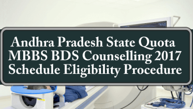 Andhra Pradesh State Quota MBBS BDS Counselling Schedule Eligibility