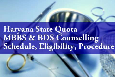 Haryana State Quota MBBS BDS Counselling Schedule Eligibility