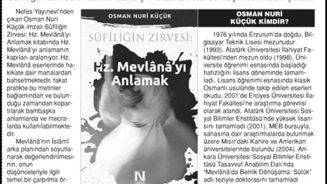 Sûfîliğin Zirvesi: Hz. Mevlânâ'yı Anlamak ÖnceVatan Gazetesi'nde yer aldı.