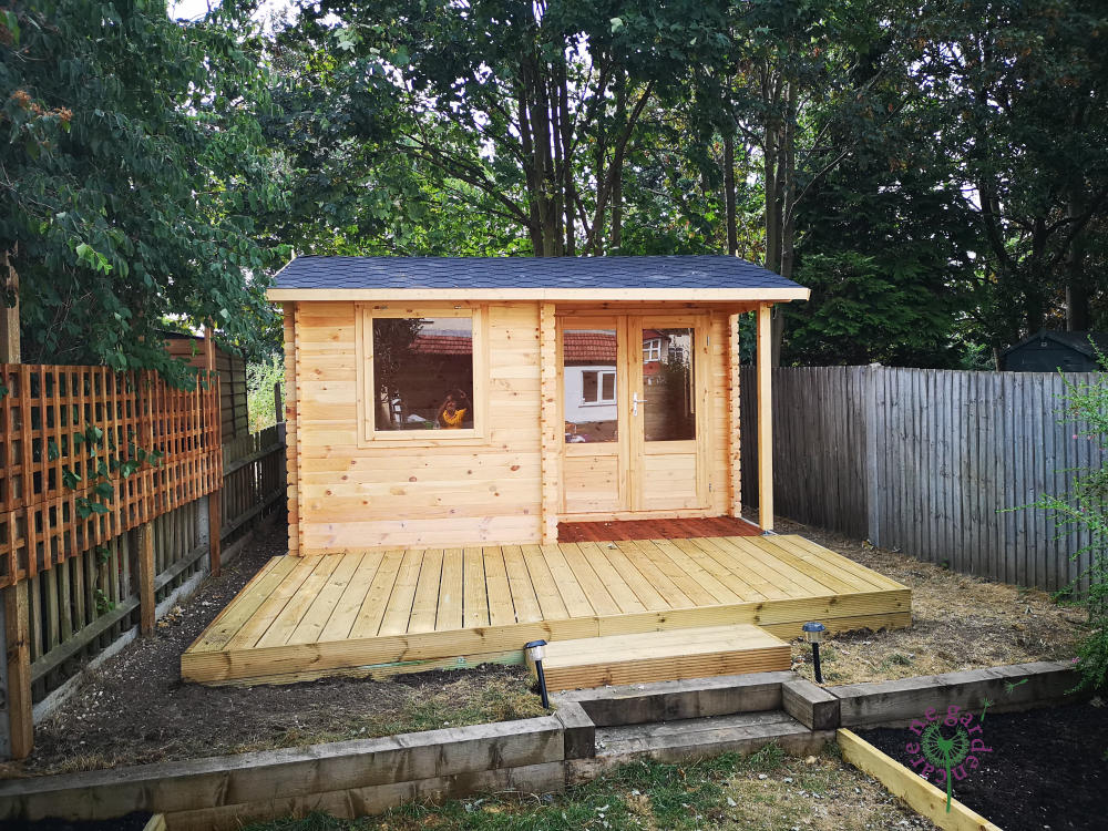 Decking outside shed