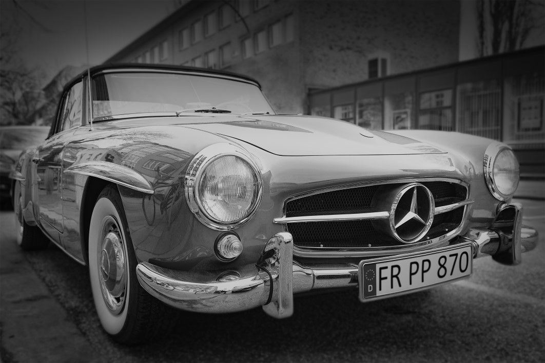 Vintage Mercedes Car Black White
