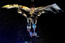 Performer Jennifer Kimberly Haight hangs at the bottom of a flying contraption in a scene from the n..