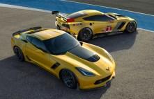 (L to R) The all-new 2015 Corvette Z06 and 2014 Corvette C7.R ra